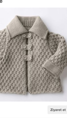 Baby Cardigan Models Description,, We have prepared a very stylish cardigan model for baby boy. A very nice example of baby cardigan models with Baby Knitting Patterns, Knitting For Kids, Crochet For Kids, Knitting Stitches, Baby Patterns, Knit Crochet, Free Crochet, Crochet Patterns, Cardigan Bebe