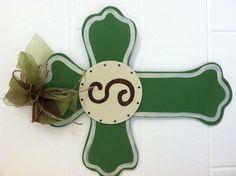 Wooden cross door hanger with monogram