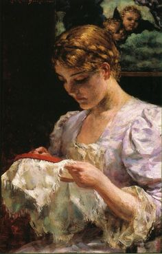 The Embroiderer, by James Carroll Beckwith (American, 1852-1917)