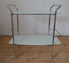 Mid Century French Bar Cart Chrome White Glass Drinks Rolling Service Hollywood   eBay