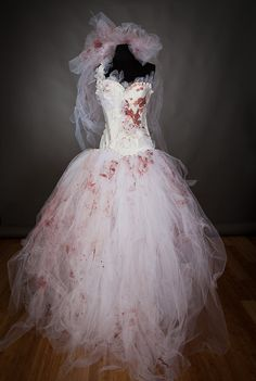 Size Medium Bloody Tulle burlesque prom dress Zombie by Glamtastik