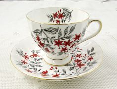 Vintage Tuscan Tea Cup and Saucer, Fine English Bone China, Red Flowers