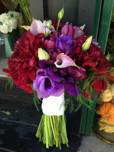 Burgundy, purple and Lavender - dahlias, callas, lisianthus and tulips