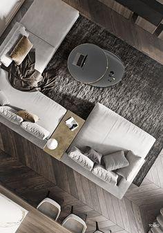 Living Room Rug Design Ideas To Take Your Breath Away - Cozy Decoration Living Room Sofa Design, Living Room Interior, Home Living Room, Living Room Designs, Living Room Decor, Boutique Interior Design, Luxury Interior, Modern Interior, Flat Interior Design