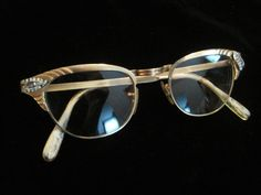 a5588f2397 Gaspar Cat Eye Glasses Vintage Secretary Rhinestone Winged 12k Gold Filled  12 Karat GF Eyeglasses Eyewear