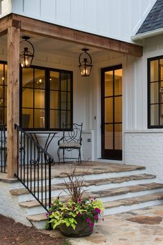 37 Best Farmhouse Front Door Ideas And Designs For Modern Farmhouse - Exterior Concept Images VICTORIA . Farmhouse Front Porches, Modern Farmhouse Exterior, Farmhouse Style, Modern Porch, Farmhouse Windows, Farmhouse Stairs, Rustic Farmhouse, Farmhouse Remodel, Farmhouse Addition