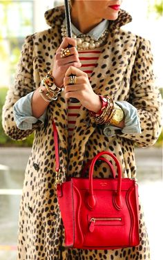 This is a really fun way to put different layers with leopard and a pop of red!