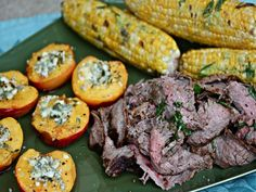 Flank Steak With Blue Cheese-Honey Nectarines and Basil-Buttered Corn, Serious Eats