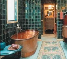 Copper bath and turquoise tiles | #designANDabout