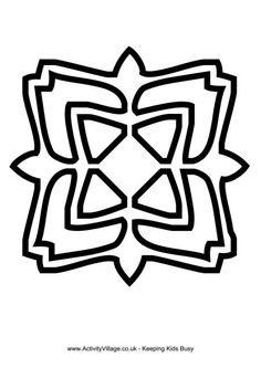 Heres A Bold Outline Rangoli Pattern To Use For Colouring Or Crafts The Simple Shapes Are Easy Younger Children Pages