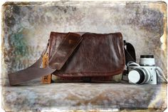 Leather Camera Bag - NEW SIZE - Mirrorless Compact Camera System Video Bag - In Stock. $115.00, via Etsy.  Want medium bag in this leather (dark distressed brown), brown or tan waxed canvas, interior wine or teal, and maybe blue contempo fabric ...