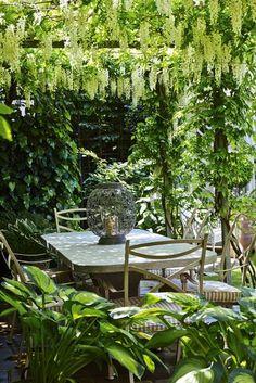 A small backyard garden relaxing outdoor dining room under a pergola