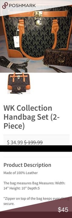 100% leather WK handbag & wallet Brand new, with tags, never used. Purse & wallet are different colors. Purchased for $35 plus tax & shipping, cross posted. WK Bags