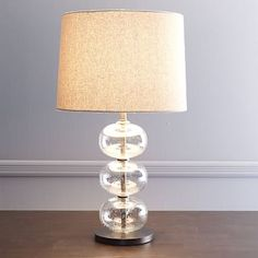 Abacus Lamp, Clear Glass/Natural Linen   CFL