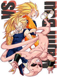 Goku and Vegeta vs Buu