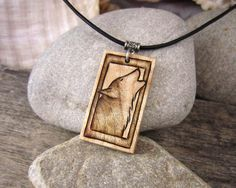 Howling Wolf Pendant Necklace Hand Engraved Jewelry by SepiaTree
