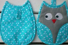 Owl potholders sew - Patchwork Instructions - SewSimple.