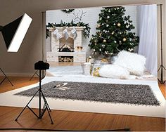 Purchase Christmas Photography Backdrop Tree Interior Decorations Fireplace Gift Box Stocking White Blanket Brick Wall Scene Photo Backgrou from Hedda Stan on OpenSky. Christmas Photo Background, Christmas Background Photography, Christmas Photography Backdrops, Christmas Photo Booth, Christmas Backdrops, Photobooth Christmas, Christmas Decorations, Diy Photo Backdrop, Backdrop Decorations