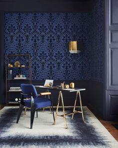 French Original Wallpaper Stripe Silver Blue Bold 1920s