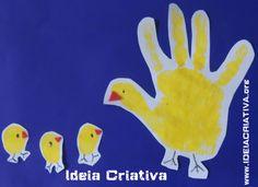 Atividade Galinha e Pintinho Amarelinho Carimbo de Mão e Dedos