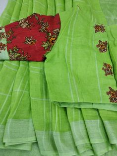Pure linen at tanvika sarees . What's app for purchase 9047090885