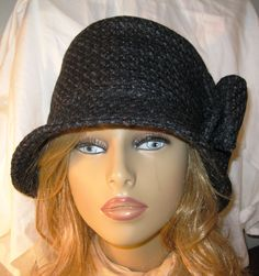 7b1b92f2d9d Womens Winter Hat Navy Wool Cloche with attached bow · Winter Hats For WomenCool  ...