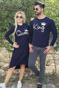 Sevgili Triko Kombini 3857 Matching Couple Outfits, Matching Couples, Couple Tees, Designs For Dresses, Painted Clothes, Muslim Couples, Post Wedding, Couple Goals, Street Style