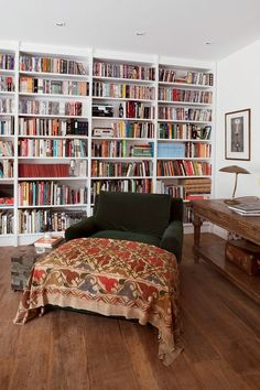 bookcase and giant green lounge chair...