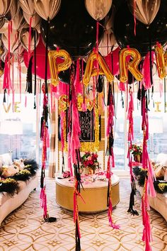Wild and Fun Bachelorette Party Decorations via balloons and streamers!