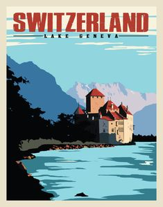 Vintage and Art-Deco style travel posters. Framed, canvas, or paper. Lake Geneva Switzerland, Vintage Ski Posters, Tourism Poster, Art Graphique, Poster Prints, Japan, Retro, Inspiration, Vintage Style