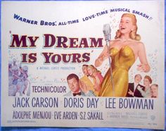 MY DREAM IS YOURS Title Lobby Card Doris Day Lee Bowman 1949