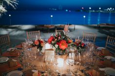 wedding by sea night Catholic Wedding, Greece Wedding, Athens, Coral, Sea, Table Decorations, Night, Home Decor, Catholic Marriage