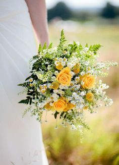 16 Stunning Summer Wedding Flowers to Embrace in June, July and August. One 16 Stunning Summer Wedding Flowers---daisy and yellow roses wedding bouquet with greenery for rustic country weddings, s. Yellow Wedding Flowers, Flower Bouquet Wedding, Yellow Roses, Floral Wedding, Bridal Bouquets, Flower Bouquets, Bridesmaid Bouquets, Purple Wedding, Wedding Bridesmaids