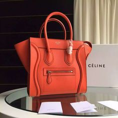 Celine Micro Mini Luggage Handbag in Grainy Calfskin Orange Celine Bag Sale 2e13a440595b2