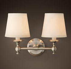 RH Lugarno Double Sconce - Brass for master bed and guest; satin nickel for mec and sdc office