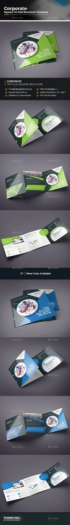 Square Tri-fold Brochure Template Vector EPS, AI Illustrator. Download here: https://graphicriver.net/item/square-trifold-brochure/17460879?ref=ksioks