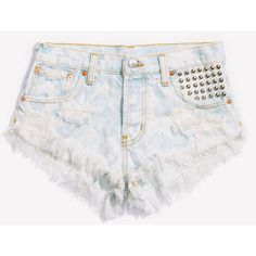 Malibu Studded Clouded Babe Shorts ❤ liked on Polyvore featuring shorts, bottoms, studded, cut-off jean shorts, ripped denim shorts, denim short shorts, denim cut-off shorts and destroyed shorts