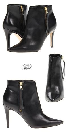 Steve Madden Instantt Bootie - ankle boot features a polished leather upper w stunning fringed gold side zipper and covered 4 inch heel.