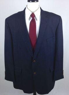 Barrington Blazer Mens Navy Blue Wool Sport Coat Jacket 50 L #Barrington #TwoButton