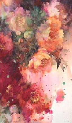 Com despre picturi acuarela, artist yuko nagayama Arte Floral, Watercolor Flowers, Watercolor Art, Japanese Watercolor, Watercolor Portraits, Watercolor Landscape, Art Aquarelle, Art And Illustration, Illustrations