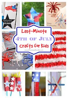 Kids will have a blast making these DIY crafts for the 4th of July. Super easy ideas from patriotic stars and fireworks to flag art pieces. Great list of kid's crafts!