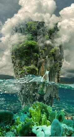 beautiful rock in the middle of the ocean - wow, what a great pic