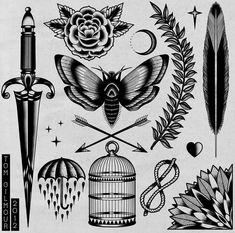 Tattoo flash by Tom Gilmour.  B&W tattoo flash.  Dagger, rain.
