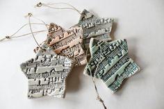 Melody Star Ornaments  Ceramic Set of 4. $16.00, via Etsy.