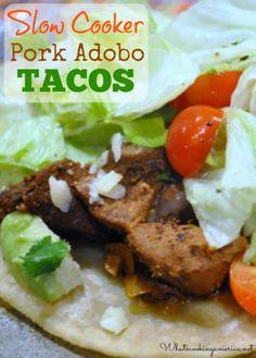 Slow Cooker Pork Adobo Tacos Recipe    whatscookingamerica.net    #pork #adobo #tacos #slowcooker #crockpot #mexican
