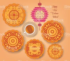 Chinese mid autumn festival background with lantern, tea and cake royalty-free…