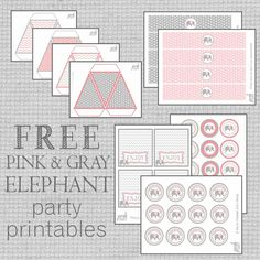 Free Pink & Gray Elephant Party Printables for any adorable DIY birthday party. Includes Birthday Banner, cupcake toppers, water bottle wrappers and more.