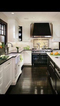 Home Decoration Diy Beautiful kitchen inspiration with white cabinets black oven countertops windows and hood - Tyler Redman.Home Decoration Diy Beautiful kitchen inspiration with white cabinets black oven countertops windows and hood - Tyler Redman New Kitchen, Kitchen Dining, Kitchen Cabinets, Kitchen White, Floors Kitchen, Kitchen Backsplash, Dark Cabinets, Kitchen Layout, Backsplash Ideas