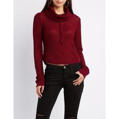 Charlotte Russe Drawstring Cowl Neck Cropped Sweater ($20) ❤ liked on Polyvore featuring tops, sweaters, burgundy, long sleeve pullover sweater, long sleeve sweater, red cropped sweater, red sweater and crop top