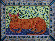 """Resting House Cat"" by Sarah Rakesacrylic on wood panel & frame 17.5"" x 23.5"" artist's frame $540  (10820 )"